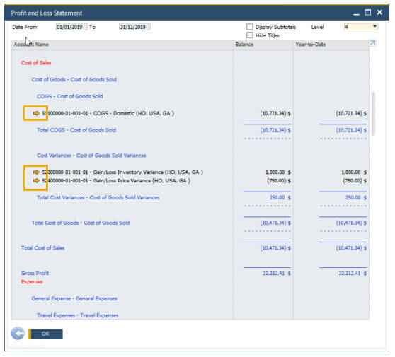 SAP Business One 10 Drill Down in Financial Report
