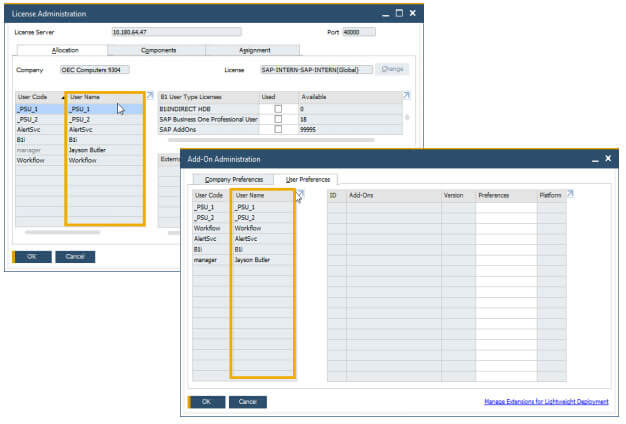 SAP Business One 10 User Name and Add-On Admin