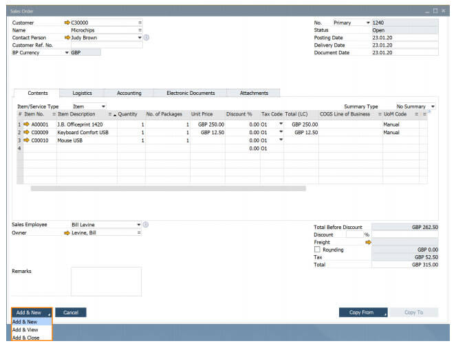 sap business one 10 add button extended in marketing documents