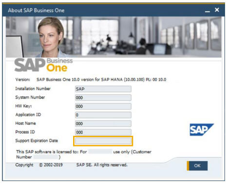sap business one 10 administration expiration date