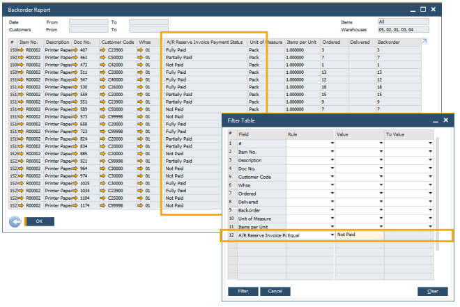 sap business one 10 backorder reports enhancements