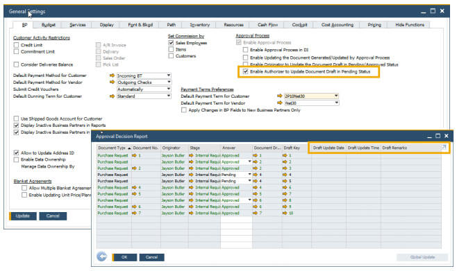 sap business one 10 enhancements in approval process