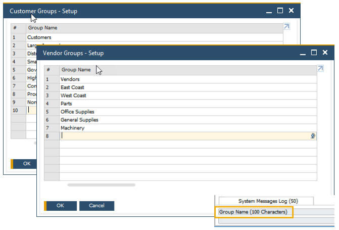 sap business one 10 field length increase