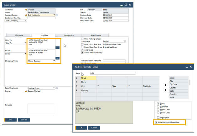 sap business one 10 hide blanks lines in addresses