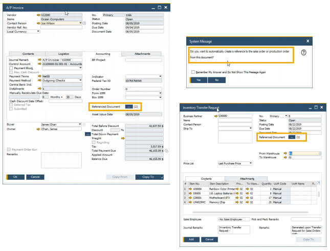 sap business one 10 referenced documents enhancements