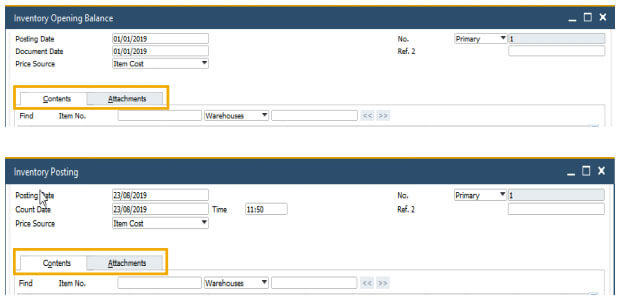 sap business one 10 support attachments tabs