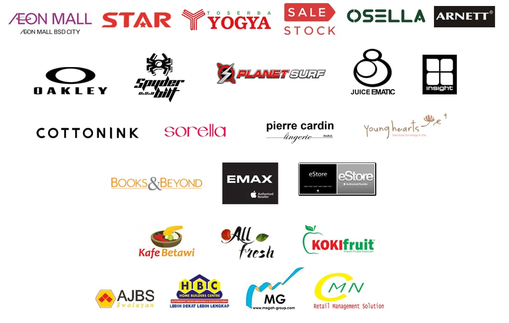 Retail STEM Client - AEON Mall BSD, Star, Toserba Yogya, Sales Stock, Osella, Arnet, Oakley, Spyderbilt, Planetsurf, Juice Ematic, Insight, Sorella, Pierre Cardin, Young Hearts, Books & Beyond, Emax, eStore, Kafe Betawi, All Fresh, Koki Fruit, AJBS Swalayan, Home Business Center, Megah Group, Retail Management Solution