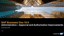SAP Business One 10 - Administration - Approval and Authorization Improvements