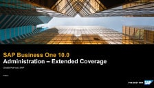 SAP Business One 10 - Administration - Extended Coverage