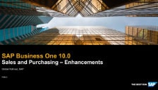 SAP Business One 10 Sales and Purchasing Enhancements