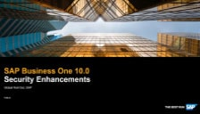 SAP Business One 10 Security Enhancements