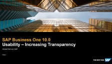 SAP Business One 10 - Usability - Increasing Transparency