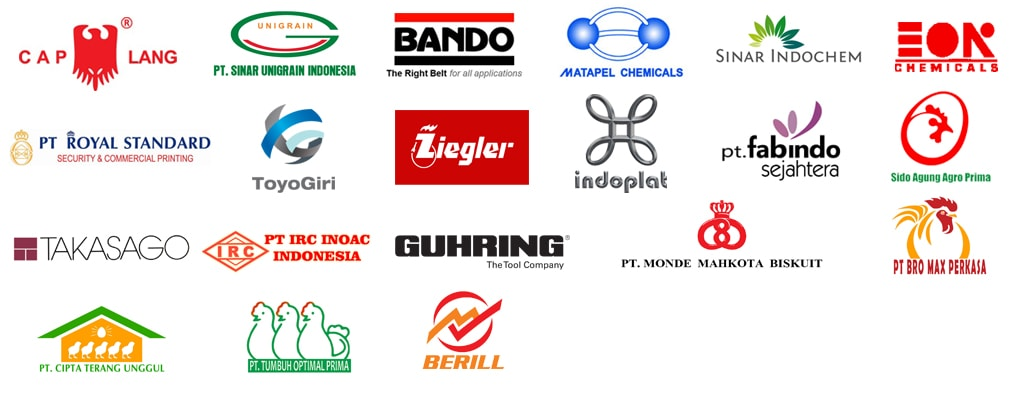 Manufacturing Industry STEM Client - Caplang, PT Sinar Unigrain Indonesia, Bando, Matapel Chemicals, Sinar Indochem, EON Chemicals, PT Royal Standard, Toyogiri, Ziegler, Indoplat, PT Fabindo Sejahtera, Sido Agung Prima, Takasago, PT IRC Inoac Indonesia, Guhring The Tool Company, PT Monde Mahkota Biskuit